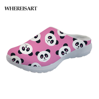 WHEREISART Sandals Casual Brand Cute Animal Panda Cartoon Print Women's Sandals Flats Home Shoes Woman Slippers for Ladies Mesh