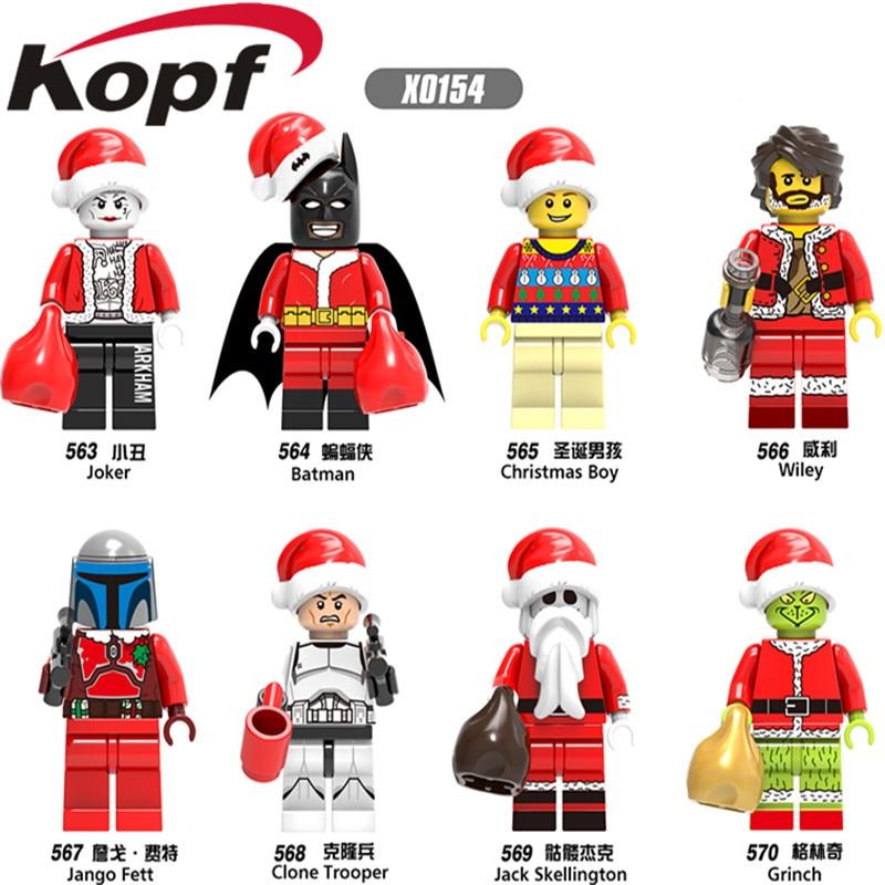Single Sale X0154 Super Heroes Merry Christmas Boy Joker Wiley Jango Fett Jack Skellington Building font