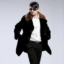 Winter mens faux marten fur coats thicken warm medium-long overcoat mink hair leather masculino chaqueta hombre