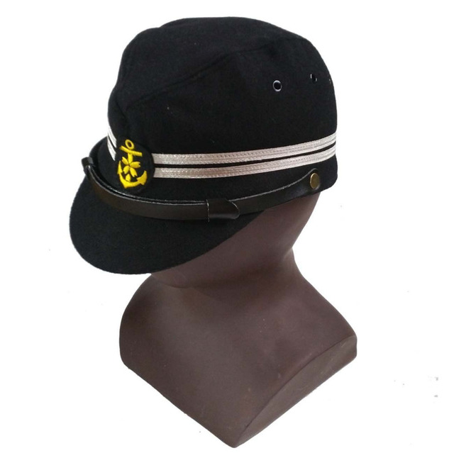 43c78ed6241 WW2 JAPANESE OFFICER NAVY HAT MILITARY FIELD CAP BLACK COLOR IN SIZES