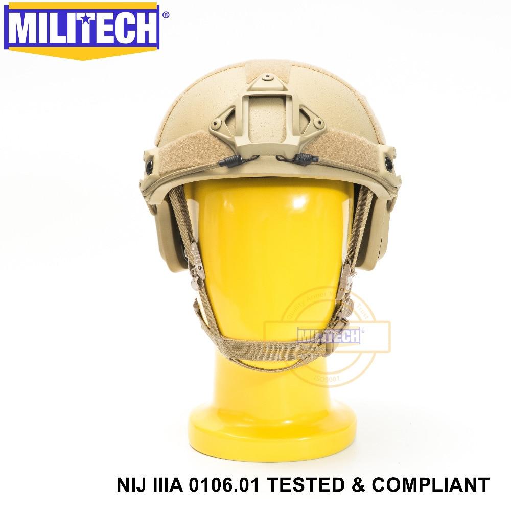 ISO Certifié MILITECH DE TAN OCC Cadran NIJ Niveau IIIA 3A RAPIDE High Cut Aramide Balles Balistiques Casque Avec 5 ans de Garantie