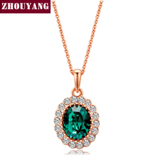 Elegant Created Rose Gold Color Green Colorful Crystal Pendant Necklace For Women Wedding Party Top Quality ZYN247