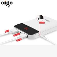 Aigo 10000 мАч E10000 + полный Ёмкость Портативный Мощность Bank Dual USB Выход зарядки Порты и разъёмы LED Дисплей Батарея Зарядное устройство