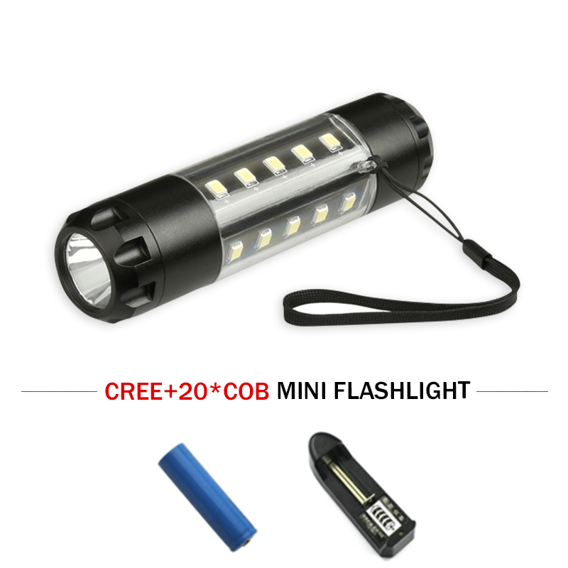 Camping Tourism Mini Portable Lighting Torch Cob Flash Light CREE XM L T6 Led Flashlight 18650 Waterproof Rechargeable Battery