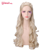 L email wig Game of Thrones Daenerys Targaryen Cosplay Wigs 80cm Long Curly Cosplay Wig Heat Resistant Synthetic Hair Perucas