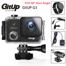 """Gitup Git3 G3 Duo Dual Camera Pro Packing 2K HD WiFi Waterproof Action Cam 2.0"""" LCD Touch Screen 90 Degree with Remote GPS Mic"""