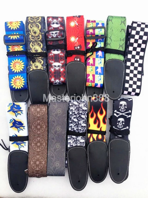 Printed Acoustic Electric Guitar Strap Multi-Pattern Ajustable Strap PU Leather Ends warp knitting classical guitar strap acoustic electric guitar strap extreme well
