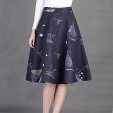 Womens printed thick woolen skirts autumn and winter dreams 2017 new lady long skirt A word skirt