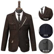 Wool Suit Men's Large Size Blazers American Hunting Multi-po