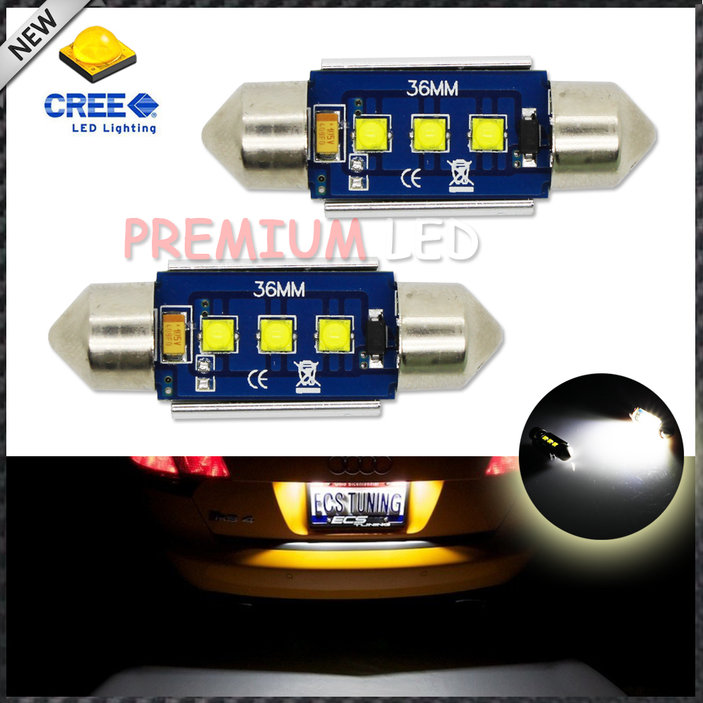 (2) Xenon White 3-CRE'E 1.50 36mm 6418 C5W CANbus LED Bulbs, Error Free For Audi BMW Mercedes Porsche VW License Plate Lights deechooll 2pcs wedge light for mazda 2 3 5 6 mx5 rx8 cx7 626 gf gg ge gw canbus t10 57smd 6w led clearance xenon lighting bulbs