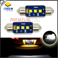 "(2) Xenon White 3-CRE'E 1.50"" 36mm 6418 C5W CANbus LED Bulbs, Error Free For Audi BMW Mercedes Porsche VW License Plate Lights"