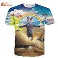Alisister 2017 nova cat t camisa 3d animal impresso t-shirt das mulheres homens engraçados clothing harajuku tee camisa casual unisex 3d t camisa