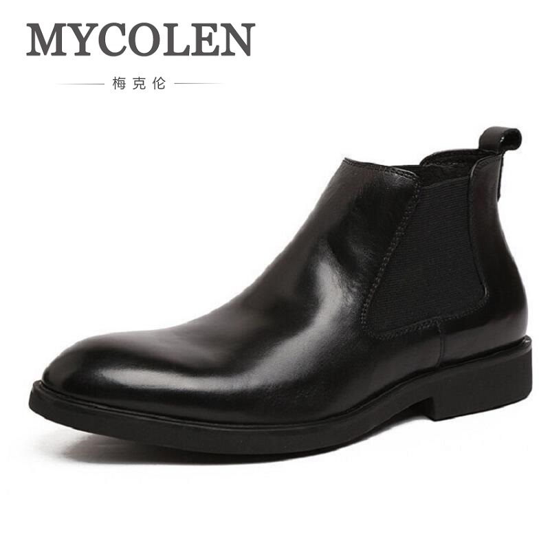 MYCOLEN 2018 Autumn Fashion Casual Men Ankle Chelsea Boots Business Male Shoes Cow Leather Slip Ons Motorcycle Boot Man Buty mycolen brand boots breathable slip on chelsea boots genuine leather male wear boots fashion casual man military shose sapatos