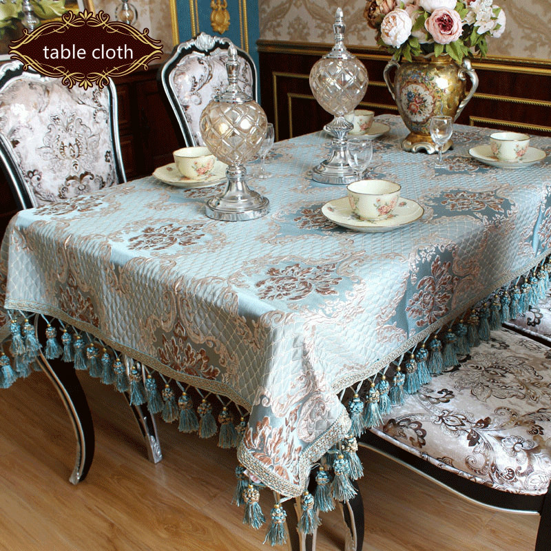 European Type Luxury Modern Tablecloth Blue Beige