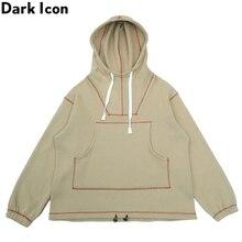 Dark Icon Solid Color Big Pocket Loose Hoodie Men Pullover Hip Hop Mens Sweatshirts and Hoodies