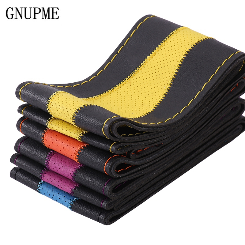 Anti-wear DIY Car Steering Wheel Covers Universal 38cm Breathable Anti-slip steering-Wheel Sleeve braid Leather Steering-Wheel