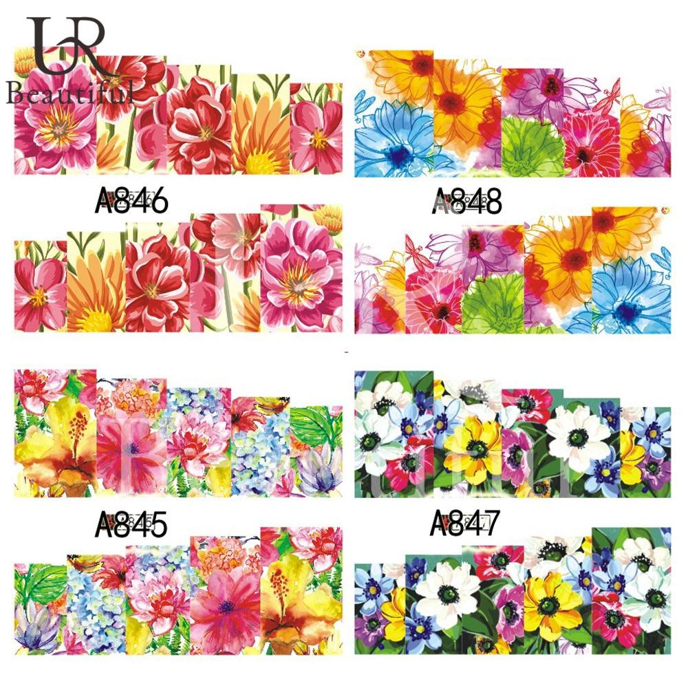 1 foglio nail art decorazioni adesivi acqua tutti i tipi for Tipi di fiori