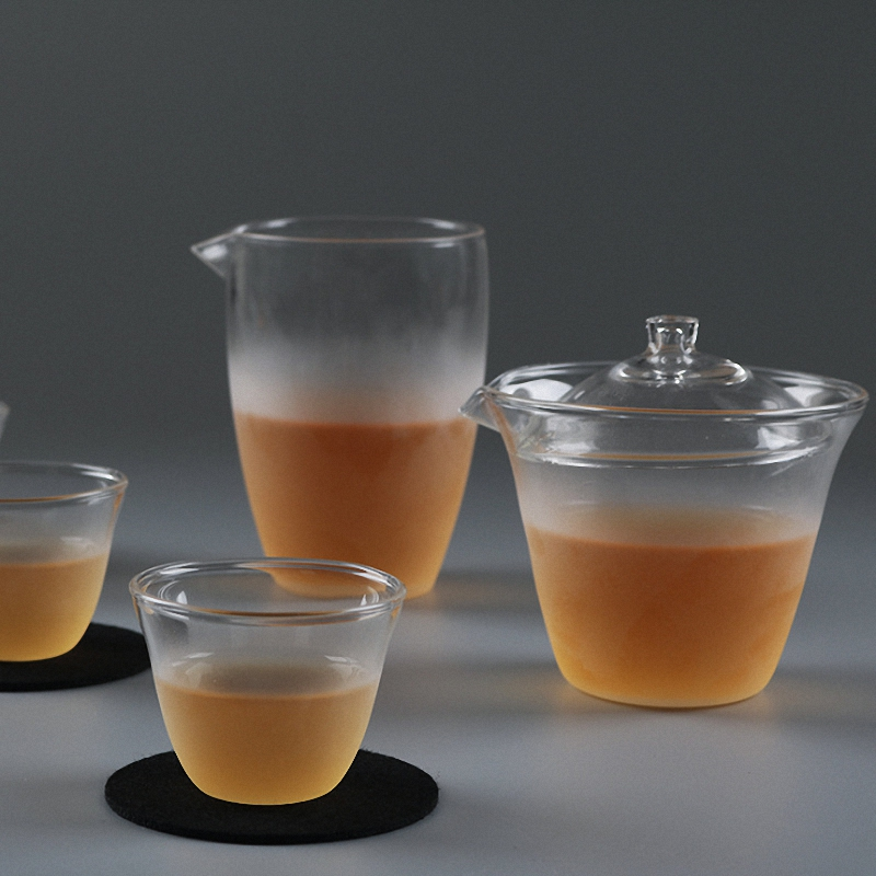 PINNY Frosted Heat Proof Glass Tea Set 8 Sets Heat Resistant Glass Tea Cup Gaiwan High Quality Kung Fu Teaset Tea Ceremony in Teaware Sets from Home Garden