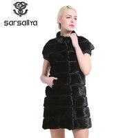 Sarsallya мода slim куртка норки меховой жилет натуральный мех норки жилет длинные Зимы Женщин Меховой Жилет Высокого Качества Норки Пальто для ж
