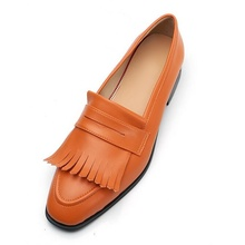 OMDE Mens Shoes Casual Leather Men Slip On Loafers Fashion Orange Tassel Loafer Handmade Autumn Outdoor Slippers