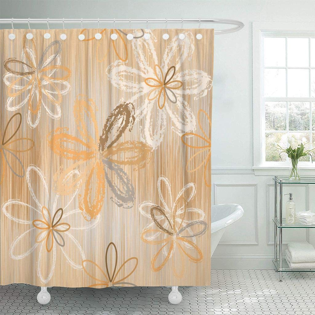 Fabric Shower Curtain With Hooks Abstract Flowers Grunge Striped In Beige Brown White Colors Brushed