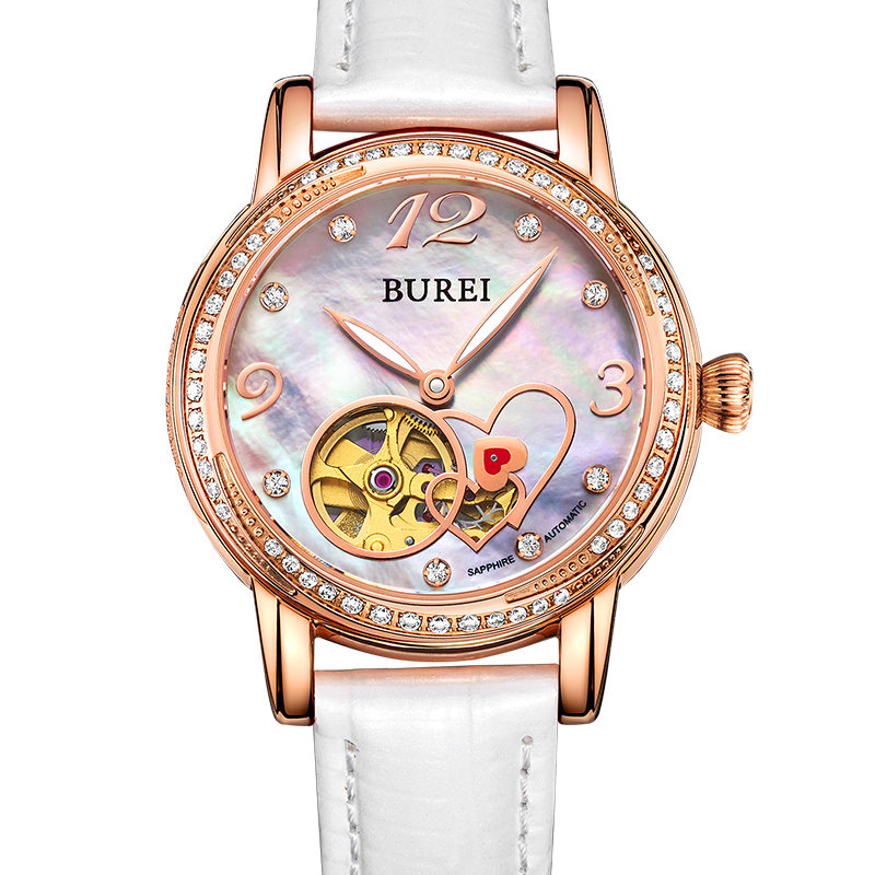 BUREI Brand Women Watch Automatic Genuine Leather Strap Sapphire Glass Analog Shell Dial Wristwatch Lady Clock Hours Reloj Mujer  цена