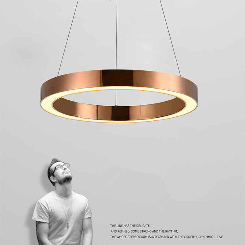Modern Nordic Rose Gold Restaurant LED Pendant Lights Circle Ring Suspension Luminaire Dining Room Lights Free