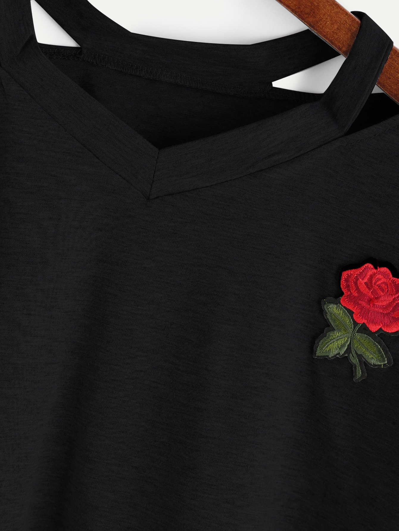 HTB10OUEQFXXXXanXXXXq6xXFXXXd - Sexy Hollow Out Short Sleeve Casual  Rose Embroidery T-shirts