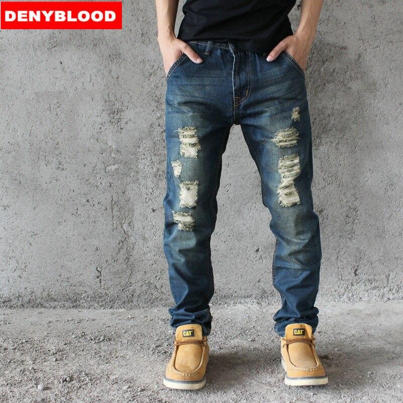 Online Get Cheap Mens Casual Jeans Vintage Hole Denim Pants ...