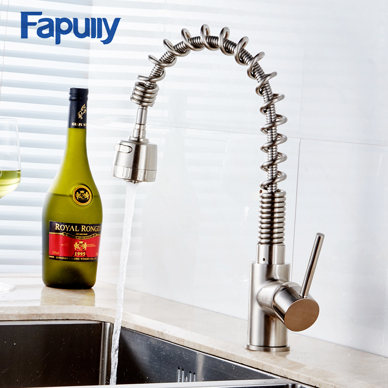 Fapully Pull Down Kitchen Faucet Black Water Rotating Single Handle Vessel Sink Hot Cold Water Kitchen Tap Sink Mixer Torneira new pull out sprayer kitchen faucet swivel spout vessel sink mixer tap single handle hole hot and cold
