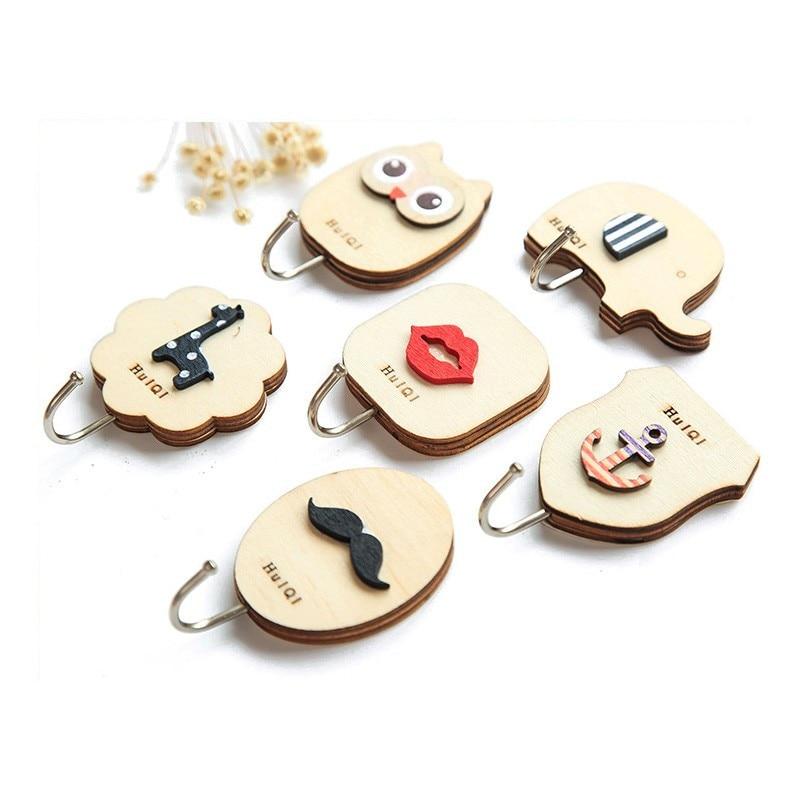 Key Decorative Hooks 1PCS Cute Cartoon Wood Decorative Holder Wall Hooks For Kitchen Organizer Bathroom Accessories Key Hanger (8)