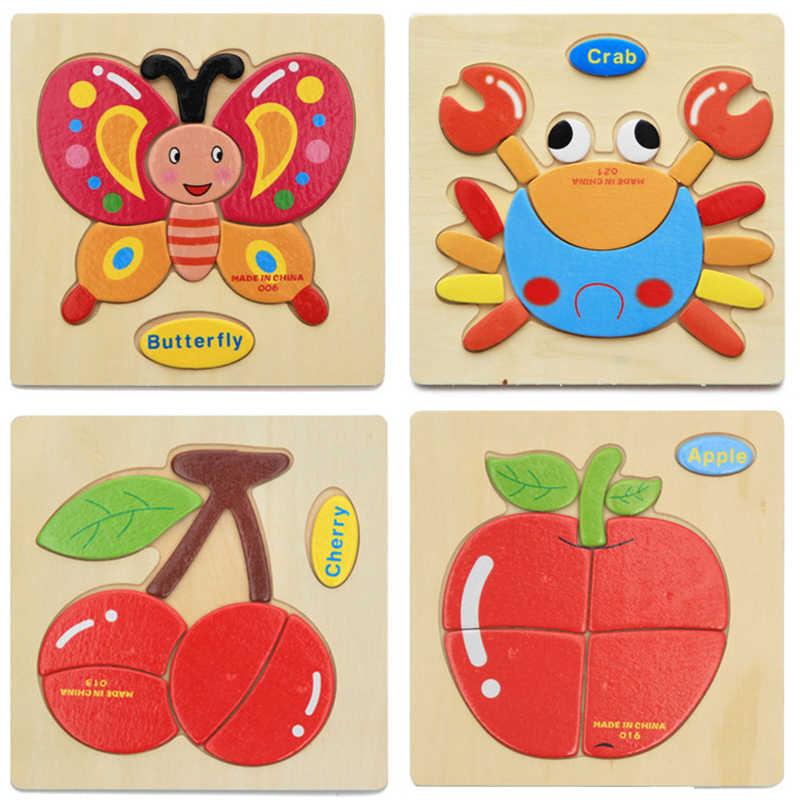 Продажа Деревянные 3D головоломки игрушки для дети мультфильм Животные автомобиль деревянные головоломки интеллект Дети Детские Ранние развивающие игрушки
