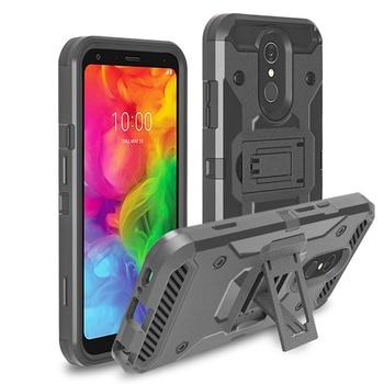 Para LG Q7 caso pesado híbrido resistente caso Anti Shock volver cinturón...