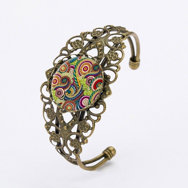 Mandala Flower Charm Bracelets Henna Yoga Open Cuff Bracelets Women Jewelry From India OM Symbol Bracelets Gifts Black Friday