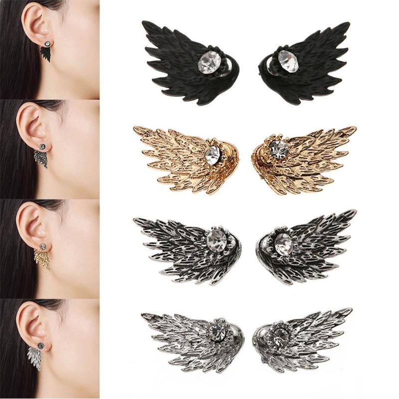 Women Vintage Angel Wings Earrings Rhinestone Feather Stud Earrings 2018  New Fashion Party Jewelry Accessories Stud Earrings