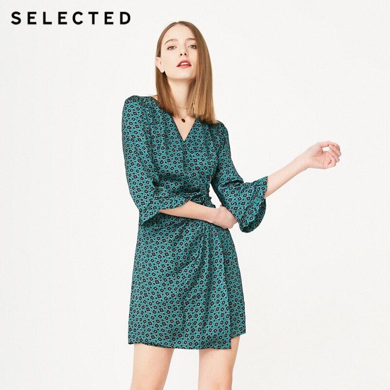 เลือก V คอพิมพ์ Buckled Laced แขน S  41922J502-ใน ชุดเดรส จาก เสื้อผ้าสตรี บน   1