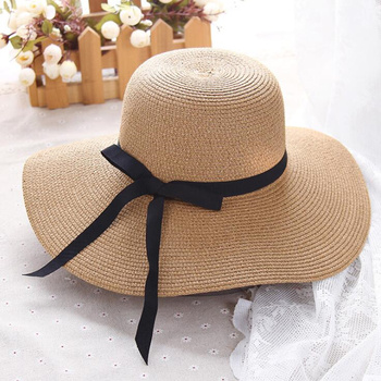 summer straw hat women big wide brim foldable sun hat 1