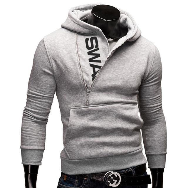 Side Zipper Hoodies Men Cotton Sweatshirt Spring Letter Print Sportswear Slim Pullover Tracksuit Hip Hop Street wear 4