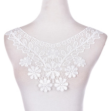 Women Lace Neckline Applique Sewing Craft Polyester Off White Floral Lace Collar Fabric Trim DIY Embroidery