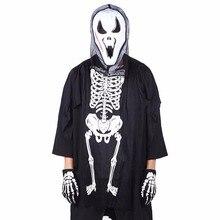 Unisex Criança o Dia Das Bruxas Cosplay Roupas Esqueleto Fantasma Luvas Terror Crânio Terno de Algodão Criança Solta Tops Com Bolso