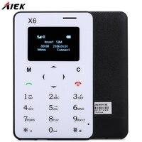 Ultra Thin AIEK X6 1 0 Inch Quad Band Card Phone Bluetooth 3 0 FM Audio