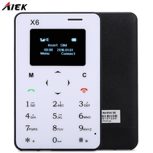 Students Children Gifts AIEK X6 1.0 Inch Mobile Phone Quad Band Card Phone Bluetooth 3.0 FM Audio Player Thin Mini Cellphone