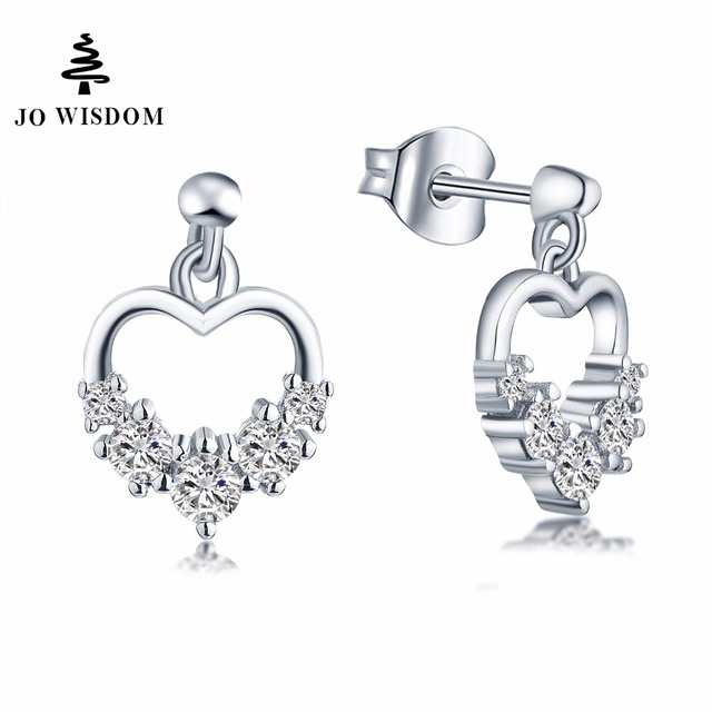 Jo Wisdom Fine Jewelry Silver Heart Stud Earrings Las Jewelery Accessories Earring With Cz Costume