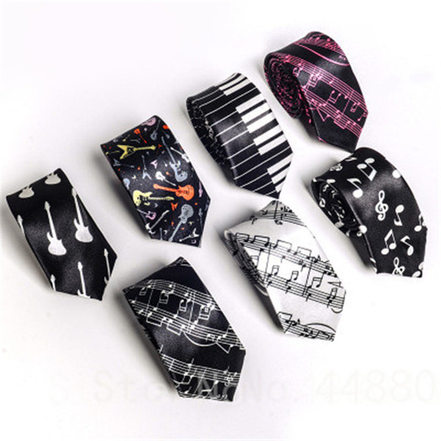3d782ab750a2 Polyester Tie For Men Fashion Necktie Music Tie Concert Piano Musical Note  Staff Printed Narrow Tie Free Shipping Drop Shipping