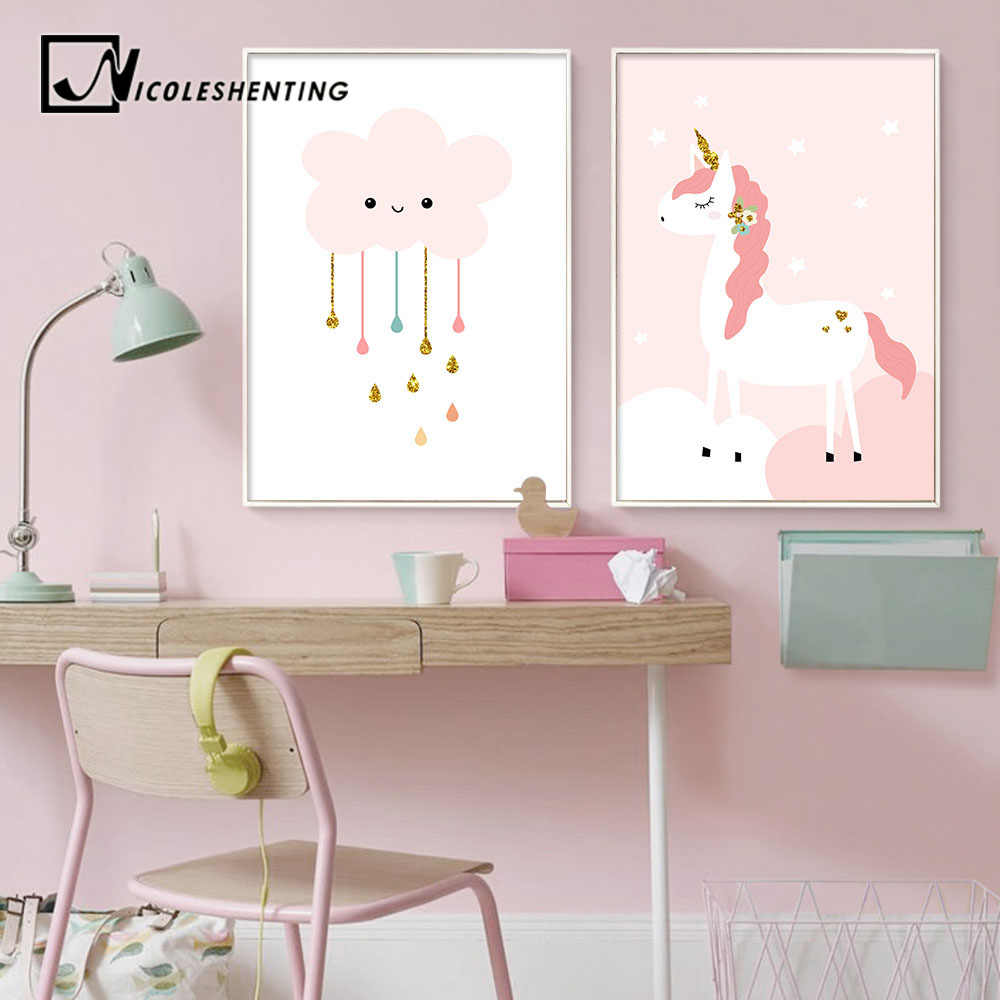 95a3568c21b2d Baby Girl Nursery Wall Art Canvas Print Pink Cartoon Poster Painting Simple  Nordic Kid Decoration Picture Children Bedroom Decor