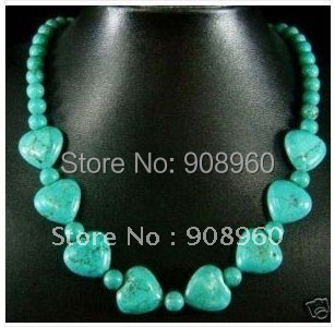 handmade Tibetan silver Jewellery Turquoise heart-shaped beads necklace 2pc/lot fashion jewelry