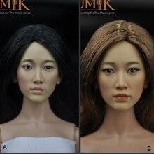 купить TopToys 1/6 Scale accessories Head Sculpt KUMIK 27AB Model Black/Brown Hair Female Fit 12 Inch Phicen hot toys for children дешево