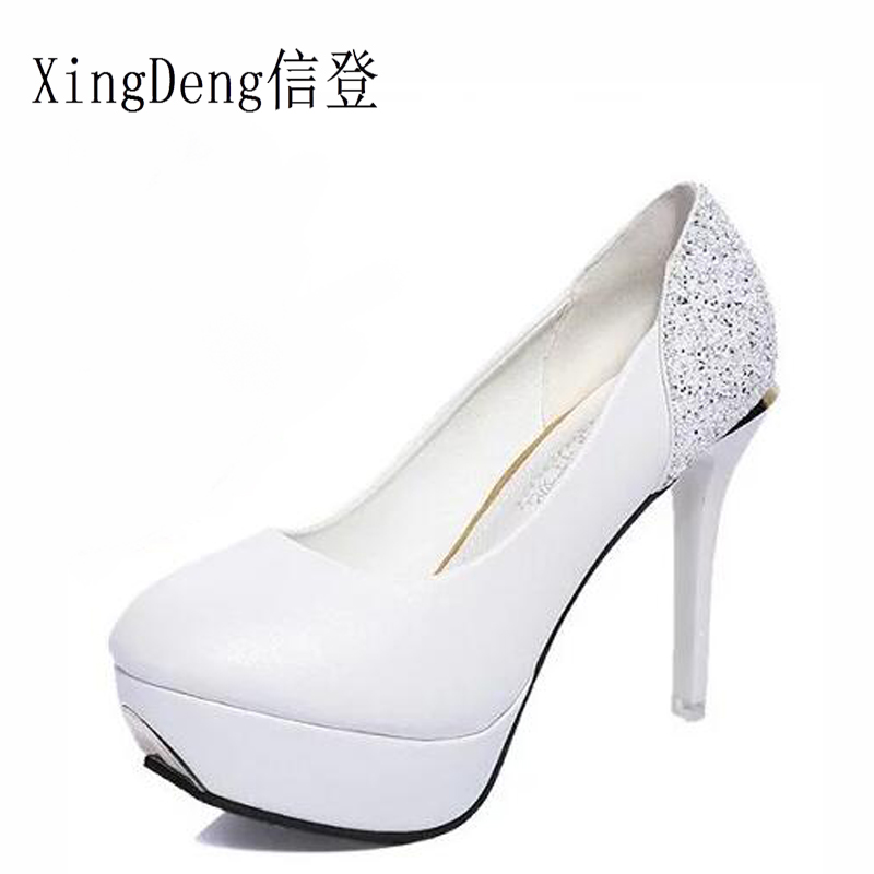 XingDeng Sexy Women High Heels Shoes White Bridal Ladies Heels Spring Women  Pumps Single Party Sweet Shoes Laides Gorgeous Heels cfe9fd4b861c