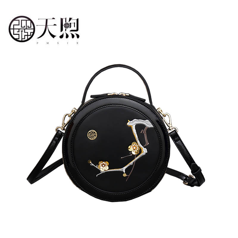 Pmsix 2019 New Superior cowhide fashion women Leather handbags Luxury embroidery Round bag small tote women leather shoulder bagPmsix 2019 New Superior cowhide fashion women Leather handbags Luxury embroidery Round bag small tote women leather shoulder bag