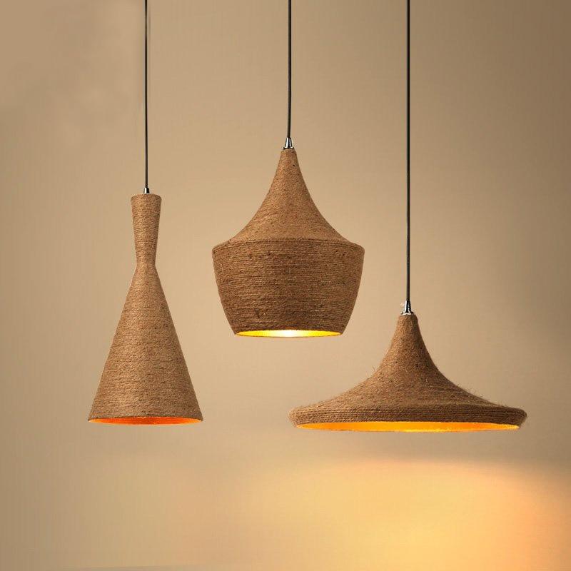 Set Of 3 LukLoy Pendant Light Lamp Shade, Retro Nordic Hemp Rope Loft Home Industrial Lighting For Kitchen Island Dining Room
